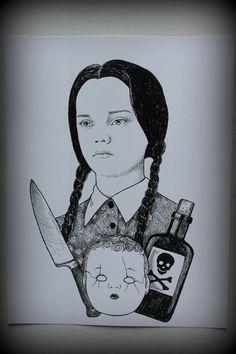 Wednesday Addams portrait print by Beautymarkings