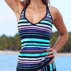 Stripe X Back Two Piece Tankini Swimwear Swimsuit Set Plus Size Available  Price: 45 & FREE Shipping  #hashtag4