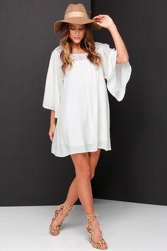Pretty Ivory Dress - Shift Dress - Lace Dress - Boho Dress - $49.00