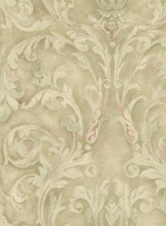Brown and Blue Leaf and Ironwork Wallpaper, SBK20608
