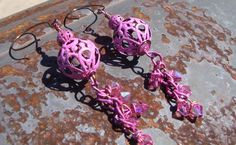 Rose Filigree Boho Dangles  Hand forged Ear Wires