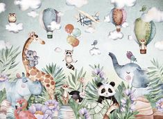 JUNGLE Wallpaper for Children With Animals / Tropical   Etsy