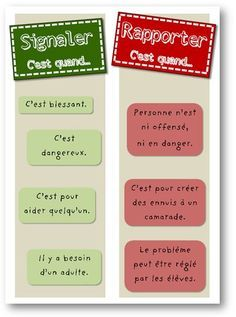 Signaler – Rapporter Signaler – Rapporter,Psycho enfant French tattle or tell sign – Signaler ou rapporter? Related posts:Math Centers for special education. Teaching French, Education Positive, Kids Education, Behaviour Management, Classroom Management, Management Tips, French Classroom, French Lessons, Socialism