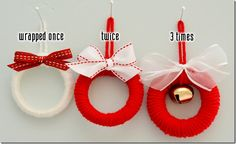 "shower curtain ring mini wreaths (""Your wreaths will take on different looks depending on the thickness of the yarn you use, and also how many times you decide to wrap the wreath."") #Christmas #giftwrap"