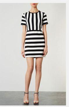 vertical on top, horizontal on bottom; Topshop Textured Stripe Dress   Nordstrom