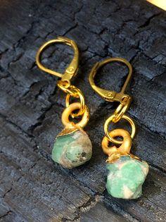 Emerald Earrings, Light Green, Small Raw Emerald Earrings, Silver Earrings, May birthstone Earrings, Crystal Earrings by NaturefyingJewelry on Etsy