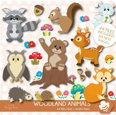 Forest Animals, Woodland Animals, Baby Clip Art, Woodland Baby, Watercolor Animals, Baby Shower Printables, Digital Stamps, Art Images, Baby Animals
