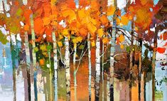 Paintings by Iosif Derecichei Abstract Tree Painting, Abstract Trees, Watercolor Paintings, Scenery Paintings, Tree Paintings, Birch Tree Art, Tree Artwork, Commercial Art, Art Plastique