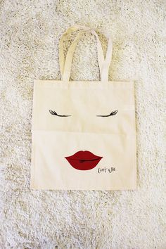 The Curvy Elle Brand   'Lips & Lashes' Canvas Tote by TheCurvyElle, $15.00