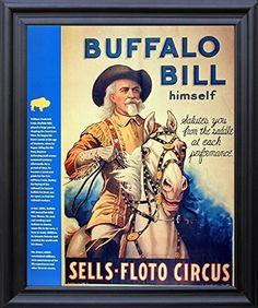 Impact Posters Gallery Wild West Show Buffalo Bill Western Cowboy Wall Decor Contemporary Black Framed Picture Art Print