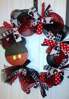 SassyGirls Nc created this Mickey Mouse Wreath. If you would like one it is listed for sale on www.esty.com