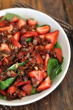 STRAWBERRY SPINACH SALAD WITH WARM BACON DRESSING