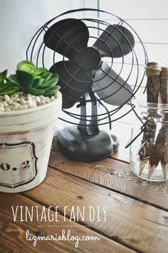 Vintage fan makeover at lizmarieblog.com