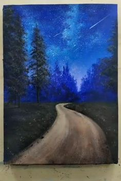 Canvas Painting Tutorials, Acrylic Painting Canvas, Acrylic Art, Painting Techniques, Acrylic Colors, Road Painting, Forest Painting, Forest Art, Alien Painting