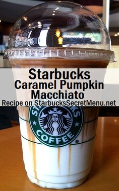 Starbucks Caramel Pumpkin Macchiato Tis the season for Pumpkin inspired beverages again and we have a great one for pumpkin and Macchiato fans! Café Starbucks, Bebidas Do Starbucks, Starbucks Secret Menu Drinks, Starbucks Caramel, How To Order Starbucks, Starbucks Recipes, Coffee Recipes, Starbucks Fall Drinks, Fun Drinks