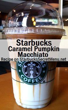 Starbucks Caramel Pumpkin Macchiato Tis the season for Pumpkin inspired beverages again and we have a great one for pumpkin and Macchiato fans! Café Starbucks, Starbucks Secret Menu Drinks, Starbucks Caramel, How To Order Starbucks, Starbucks Recipes, Coffee Recipes, Starbucks Fall Drinks, Smoothies, Iced Coffee