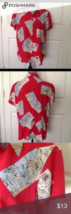 LIZ CLAIBORNE Colorful Short Sleeve Summer Blouse Gorgeous 100% Washable Silk Blouse Liz Claiborne Tops Blouses