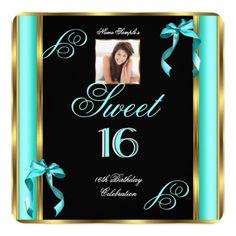 Sweet 16 Teal Blue Gold Photo 16th Birthday P2 Invitation