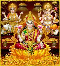 """Shri Lakshmi Devi, Saraswati Devi, Shri Ganesh ॐ """" Krishna, Shri Ganesh, Shri Hanuman, Lord Ganesha, Lakshmi Photos, Lakshmi Images, Shiva Art, Shiva Shakti, Diwali Pooja"""