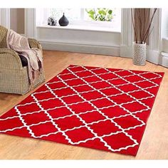 Contemporary Trellis Modern Geometric Area Rug Red 635 Furnishmyplace Via Polyvore Featuring Home Rugs