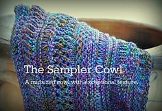 The Sampler Cowl, free pattern on Ravelry. A mid-sized cowl to showcase a variety of textured (yet very basic) knitting stitches. Knitting Basics, Loom Knitting, Knitting Stitches, Knitting Patterns Free, Knitting Projects, Crochet Patterns, Cowl Patterns, Free Pattern, Knitting Ideas