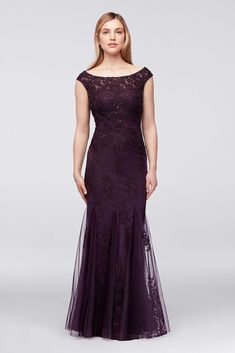 Embellished Floral Lace and Tulle Mermaid Mother of Bride/Groom Dress