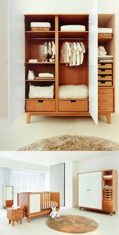 Modern Baby Armoire via Studio ToutPetit. This is so Mikies and my style. Baby Bedroom, Nursery Room, Kids Bedroom, Girl Nursery, Child's Room, Girl Room, Nursery Ideas, Bedroom Ideas, Kids Wardrobe