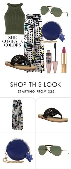 """""""Summer Inspired: Patterned Trousers"""" by josehline on Polyvore featuring MIA, Ray-Ban, Maybelline and Dolce&Gabbana"""