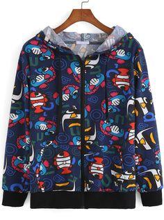 c30ad8fa8e3 Hooded Cartoon Print Zipper Sweatshirt