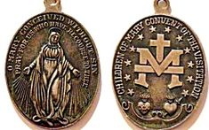 Large Sterling Antique Miraculous Medal Pendant Our Lady of Grace (Image1)Large size, Antique Sterling Silver Holy Medal featuring the Blessed Mother Virgin Mary as Our Lady of Grace and Miracles of the Miraculous Medal. Back is stamped STERLING. A nice size for men.