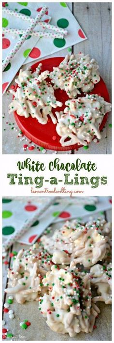 Crunchy peanuts and chow mein noodles, smothered in white chocolate and decorated with festive red, green & white sprinkles. A salty-sweet, crunchy treat! (christmas sweets and treats) Holiday Candy, Christmas Candy, Holiday Treats, Holiday Recipes, Christmas Sprinkles, Christmas Recipes, White Christmas, Holiday Parties, Thanksgiving Treats