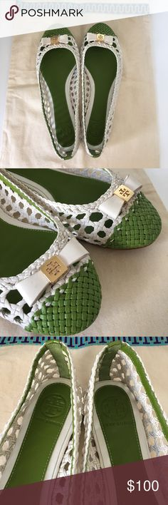 Tory Burch Carlyle Flats Brand new and never worn. SIZE 8. Stickers at the bottom of shoe were removed. Does not affect the wearability of the shoes in any way. Will only come with TB shoe bag, no box. Description: The rattan-like Carlyle Flat brings the look comfortably and chicly — right to your feet. Breathable. This textural, two-tone leather style is topped with a bow and signature logo at the toe. Madras leather upper.Leather bow detail with gold-tone metal logo. Leather lining…