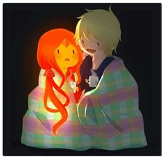 Flame Princess and Finn the Human, hey why aint that blanket on fire?