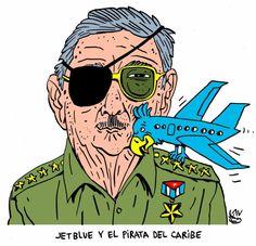#Cuba: #JetBlue y el #pirata del Caribe #Viñeta de #AlenLauzán en #DiariodeCuba [#HUMOR]