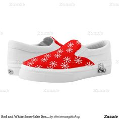 Red and White Snowflake Design Printed Shoes