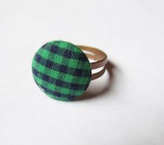 Green and Blue Fabric Plaid Button and Copper Plated Ring by GypsyDreamerCafe, $6.75