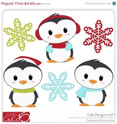 BLACK FRIDAY 50% OFF Cute Penguins Vol. 1 - Digital Clip Art , Commercial Use Clipart, Scrapbook, Printable - Instant Download