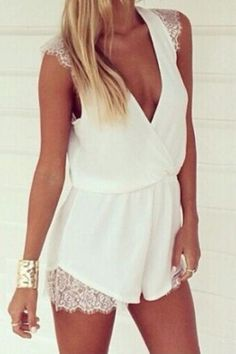 White #Romper with #lace