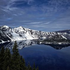 Snowcapped Mountains on Crater Lake