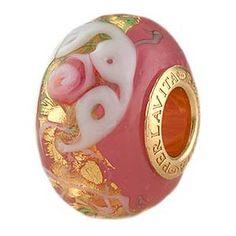 Pink Opalino Serenissima Large Hole Rondel Vermeil Insert, Murano Glass Charm Beads for Pandora & Chamilia Bracelets