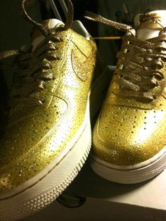 www.hiphopcloset.com - All Gold Everything Remixdakicks AF1 Custom Sneakers