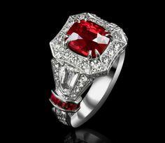 3.57 CARAT NATURAL RUBY & DIAMOND RING