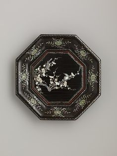 "Dish with Flowering Plum and Birds, 14th century. Yuan dynasty (1271–1368). China. The Metropolitan Museum of  Art,  New York.  Gift of Florence and Herbert Irving, in honor of James C. Y. Watt, 2011 (2011.120.2)  | This work is exhibited in the ""Chinese Lacquer: Treasures from the Irving Collection, 12th-18th Century"" exhibition. #AsianArt100"
