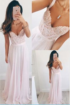Spaghetti Straps Pink Lace Prom Dresses,Sweetheart Long Prom Dress,Chiffon Evening Dress Prom Gowns,Graduation Dresses Party Dress
