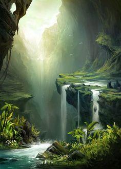 falls in a cave