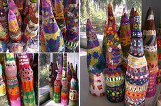 paper mache on bottles