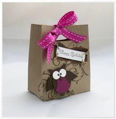 "Geschenktüten - Schachtel / Tüte / Geschenkverpackung ""Eule"" - ein Designerstück von Este-Klamottee bei DaWanda"