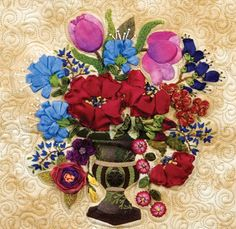 """Floral Urn"" from The Art of Elegant Hand Embroidery, Embellishment and Applique by Janice Vaine."
