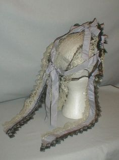Exceptional 1860's Lace & Lilac Ribbon Evening Headdress