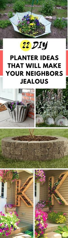 These outdoor DIY planter ideas will make your neighbors jealous! They're so easy and cheap to make (considering you can use recycled materials). Large and tall or small and short, these amazing planters will take your garden to the next level! #diy #projects #gardenideas #outdoordecor #landscapingideas #landscapedesign #landscape #gardendeco
